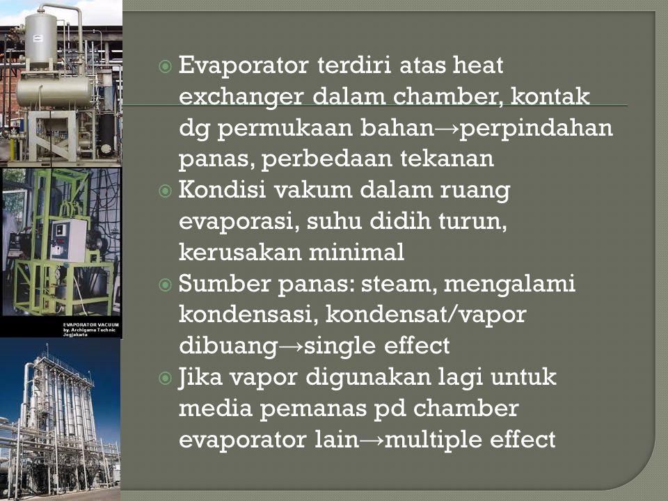 Evaporator terdiri atas heat exchanger dalam chamber, kontak dg permukaan bahan→perpindahan panas, perbedaan tekanan