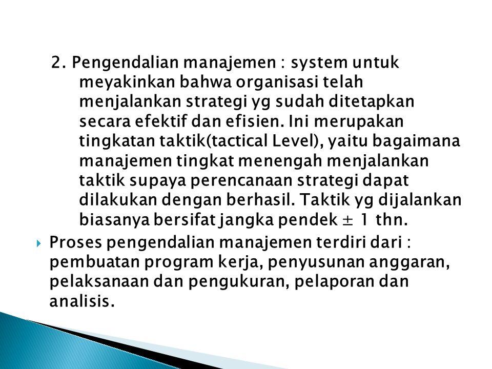 2. Pengendalian manajemen : system untuk
