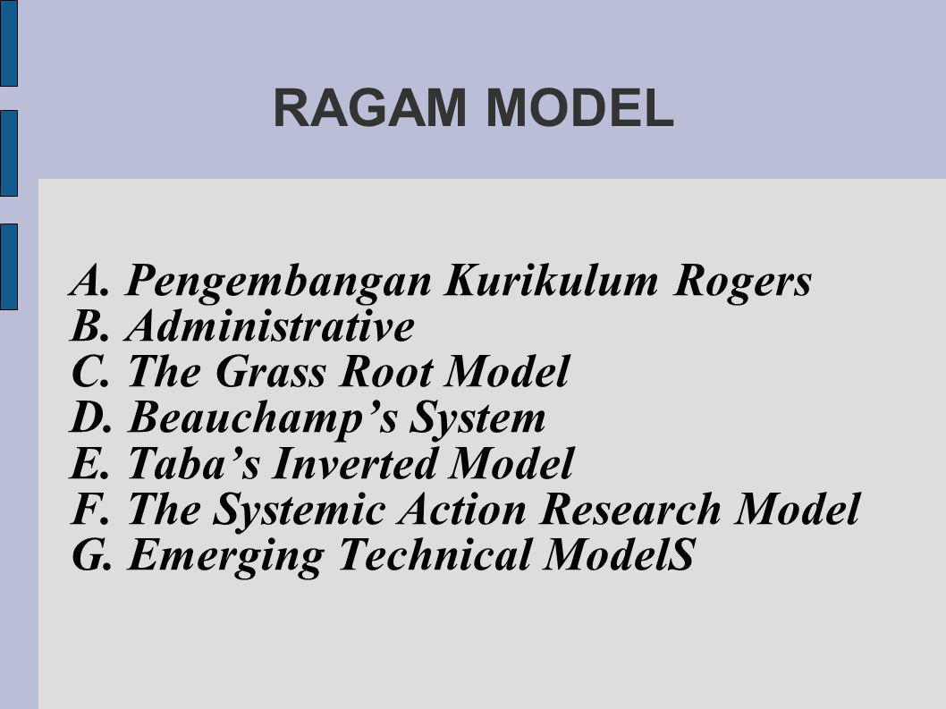 RAGAM MODEL A. Pengembangan Kurikulum Rogers B. Administrative
