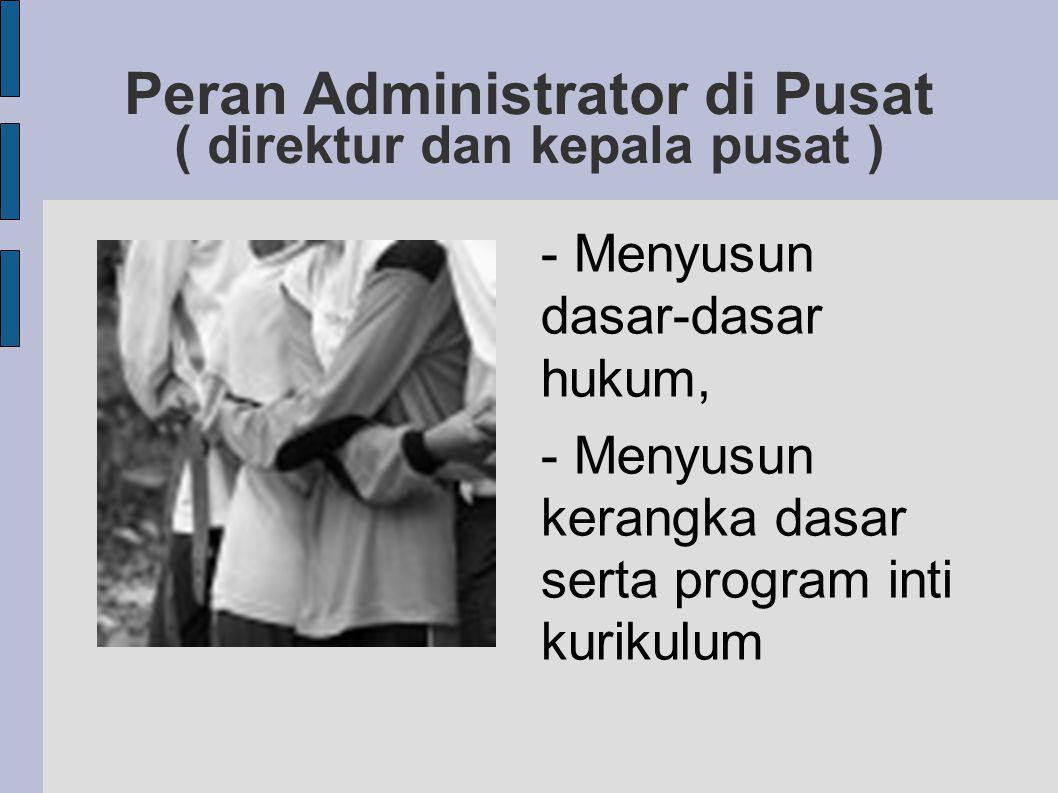 Peran Administrator di Pusat ( direktur dan kepala pusat )