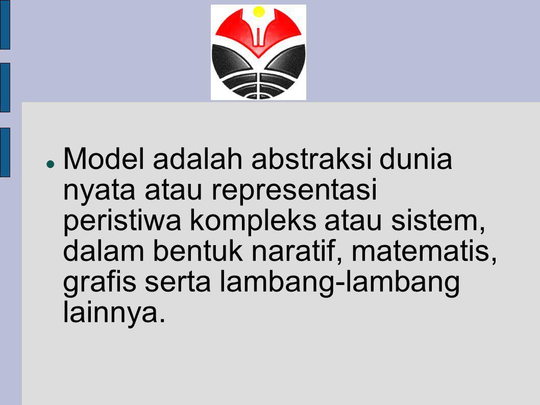 Model adalah abstraksi dunia nyata atau representasi peristiwa kompleks atau sistem, dalam bentuk naratif, matematis, grafis serta lambang-lambang lainnya.