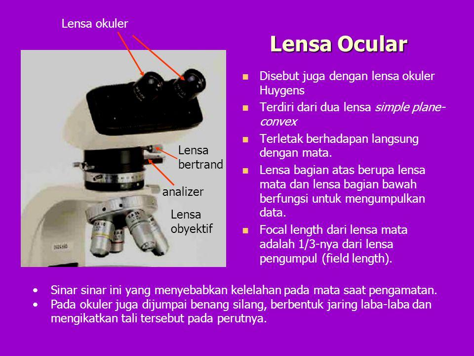 Lensa Ocular Lensa okuler Disebut juga dengan lensa okuler Huygens