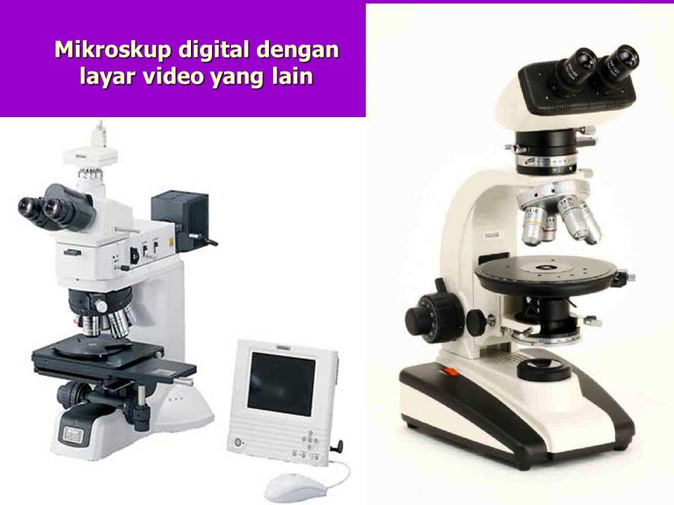 Mikroskup digital dengan layar video yang lain
