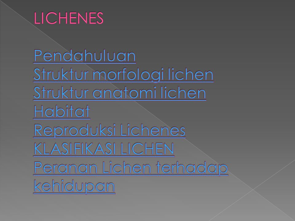 LICHENES Pendahuluan Struktur morfologi lichen Struktur anatomi lichen Habitat Reproduksi Lichenes KLASIFIKASI LICHEN Peranan Lichen terhadap kehidupan