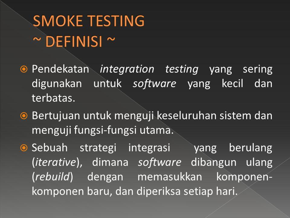 SMOKE TESTING ~ DEFINISI ~