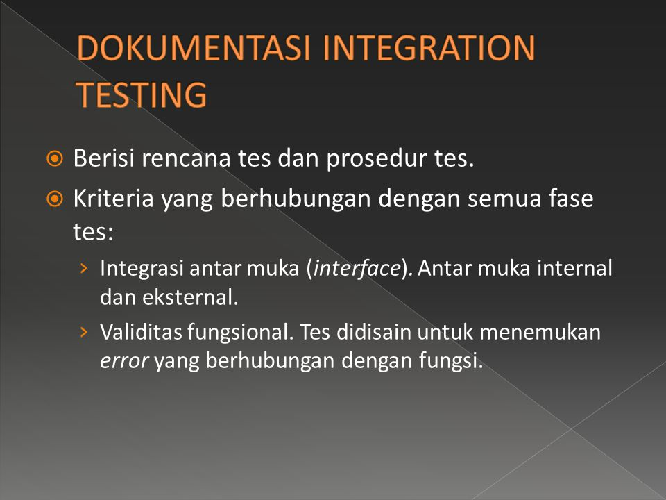 DOKUMENTASI INTEGRATION TESTING