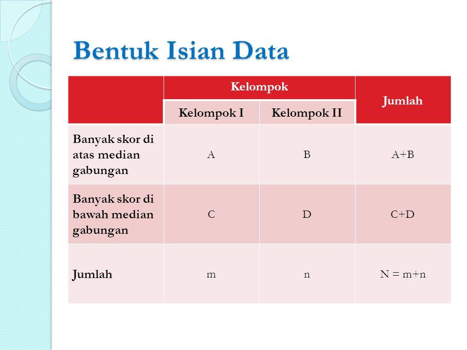 Bentuk Isian Data Kelompok Jumlah Kelompok I Kelompok II