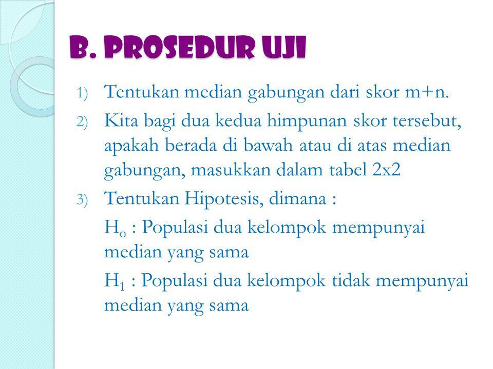 B. PROSEDUR UJI Tentukan median gabungan dari skor m+n.