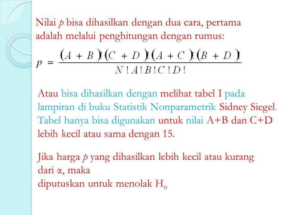 Nilai p bisa dihasilkan dengan dua cara, pertama adalah melalui penghitungan dengan rumus: