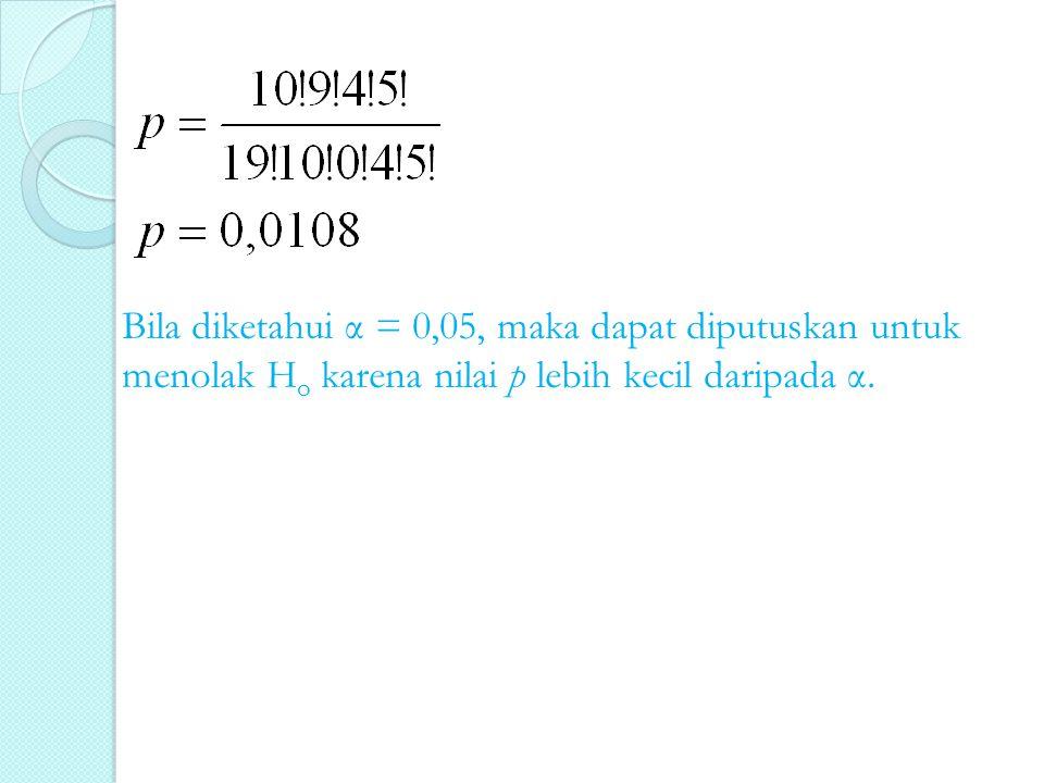 Bila diketahui α = 0,05, maka dapat diputuskan untuk