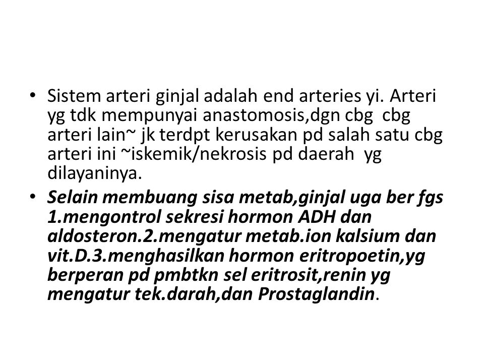 Sistem arteri ginjal adalah end arteries yi