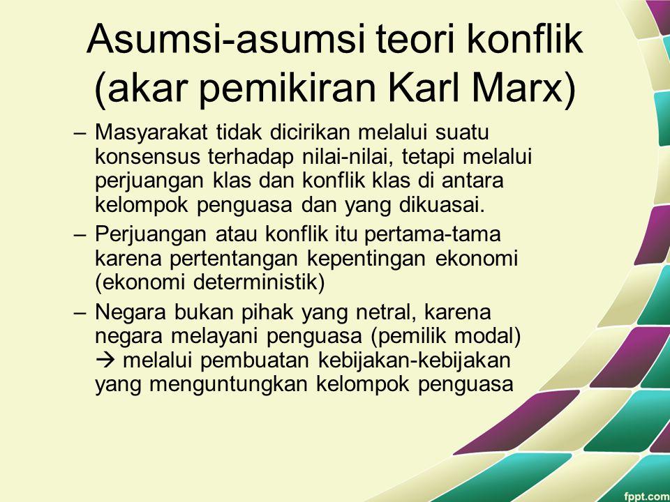 Asumsi-asumsi teori konflik (akar pemikiran Karl Marx)