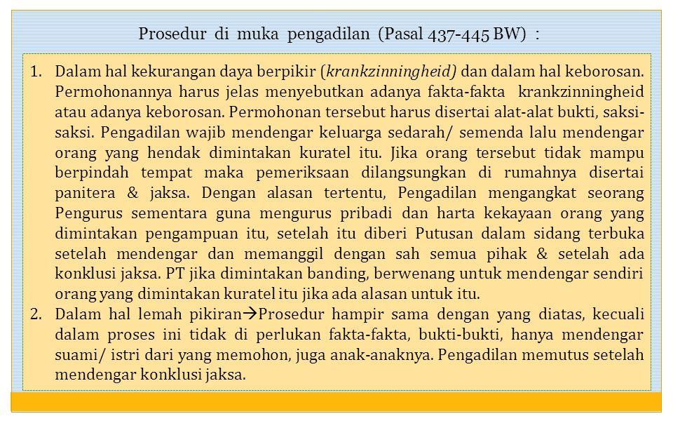 Prosedur di muka pengadilan (Pasal 437-445 BW) :