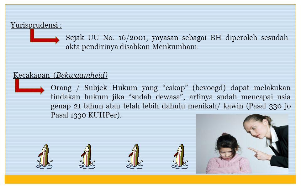 Yurisprudensi : Sejak UU No. 16/2001, yayasan sebagai BH diperoleh sesudah akta pendirinya disahkan Menkumham.