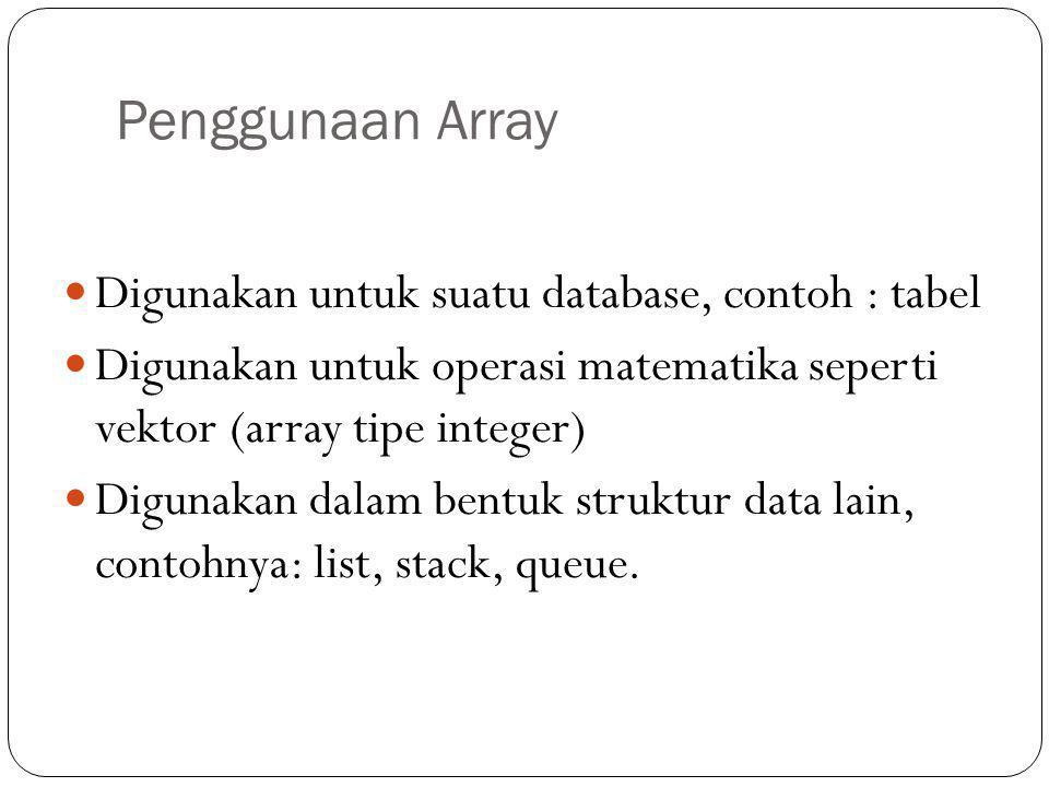 Penggunaan Array Digunakan untuk suatu database, contoh : tabel