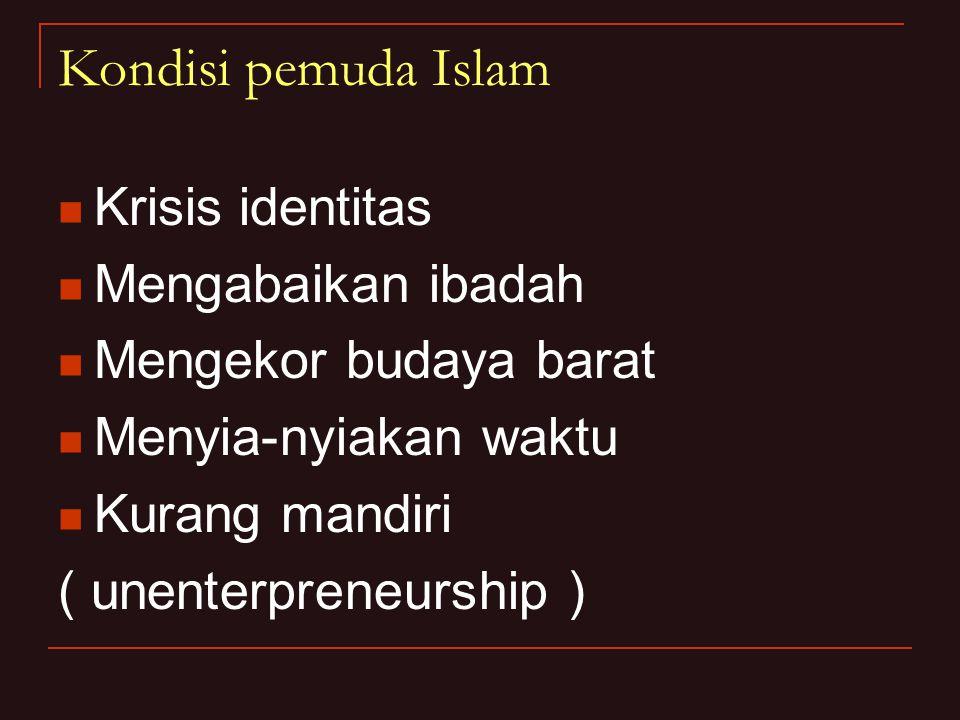 Kondisi pemuda Islam Krisis identitas Mengabaikan ibadah