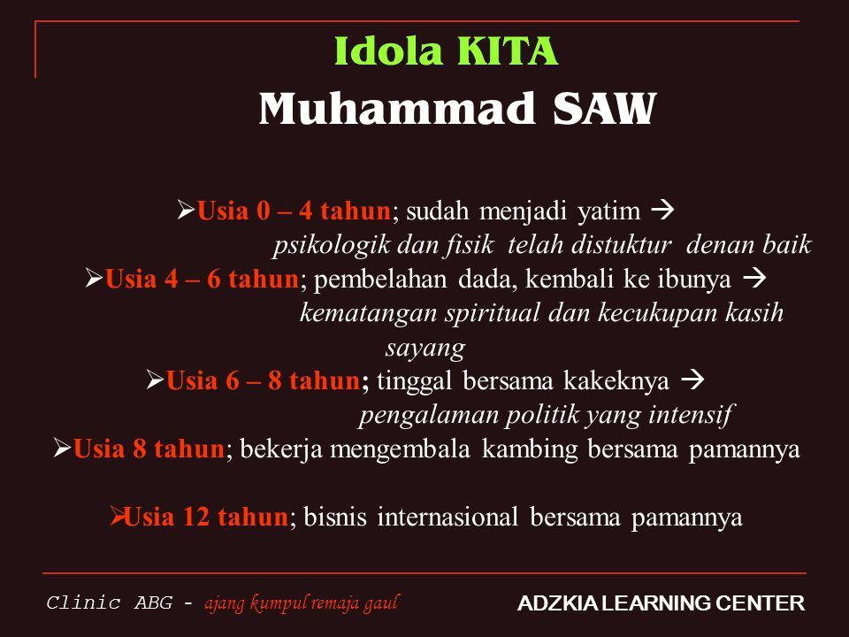 Idola KITA Muhammad SAW Usia 0 – 4 tahun; sudah menjadi yatim 