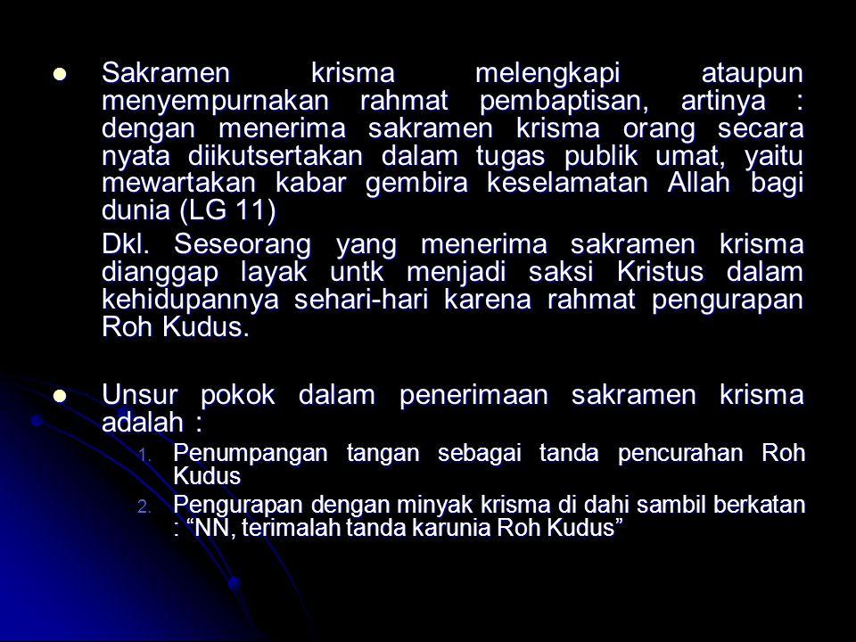 Unsur pokok dalam penerimaan sakramen krisma adalah :