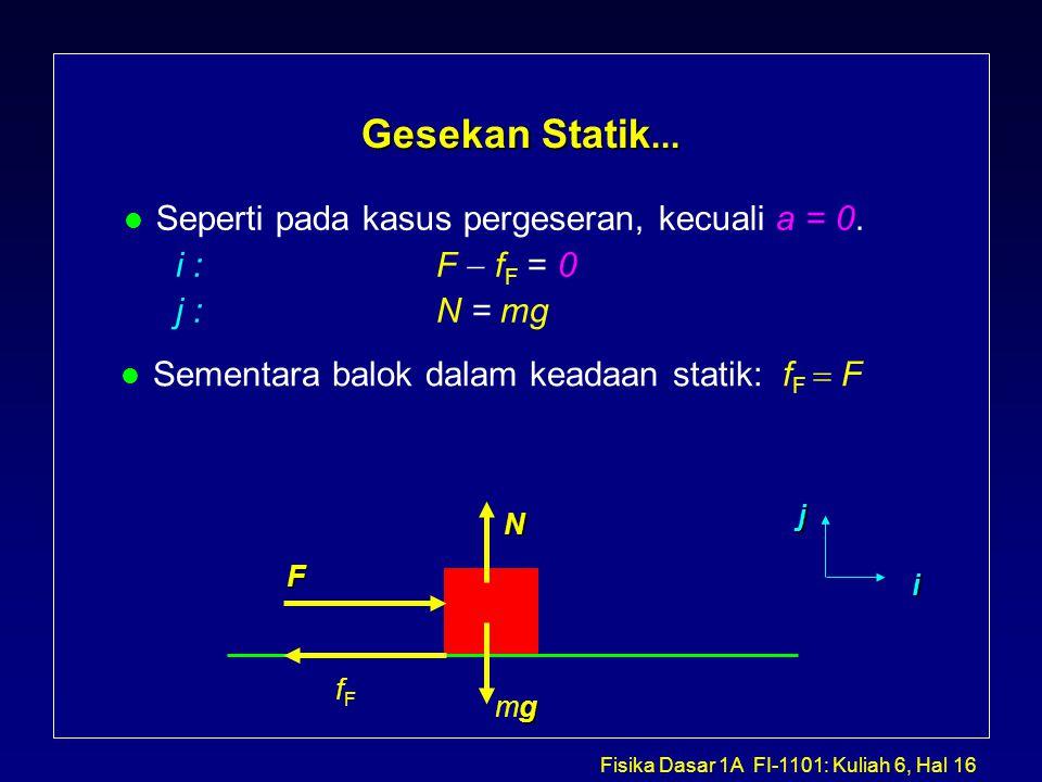 Gesekan Statik... Seperti pada kasus pergeseran, kecuali a = 0.