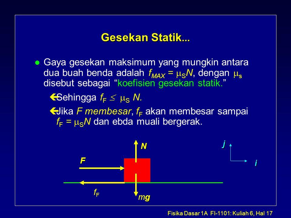 Gesekan Statik... Gaya gesekan maksimum yang mungkin antara dua buah benda adalah fMAX = SN, dengan s disebut sebagai koefisien gesekan statik.