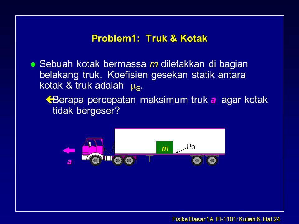 Berapa percepatan maksimum truk a agar kotak tidak bergeser