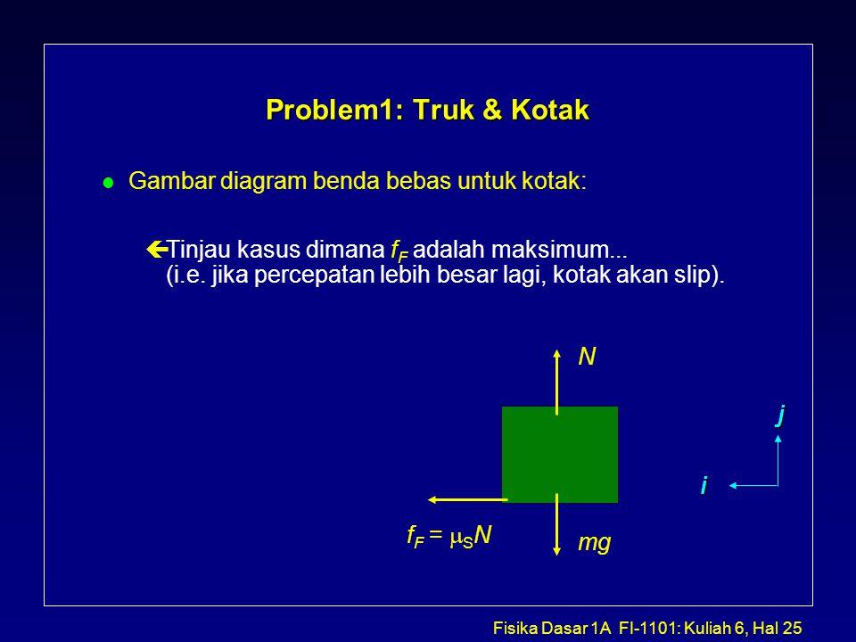 Problem1: Truk & Kotak Gambar diagram benda bebas untuk kotak: