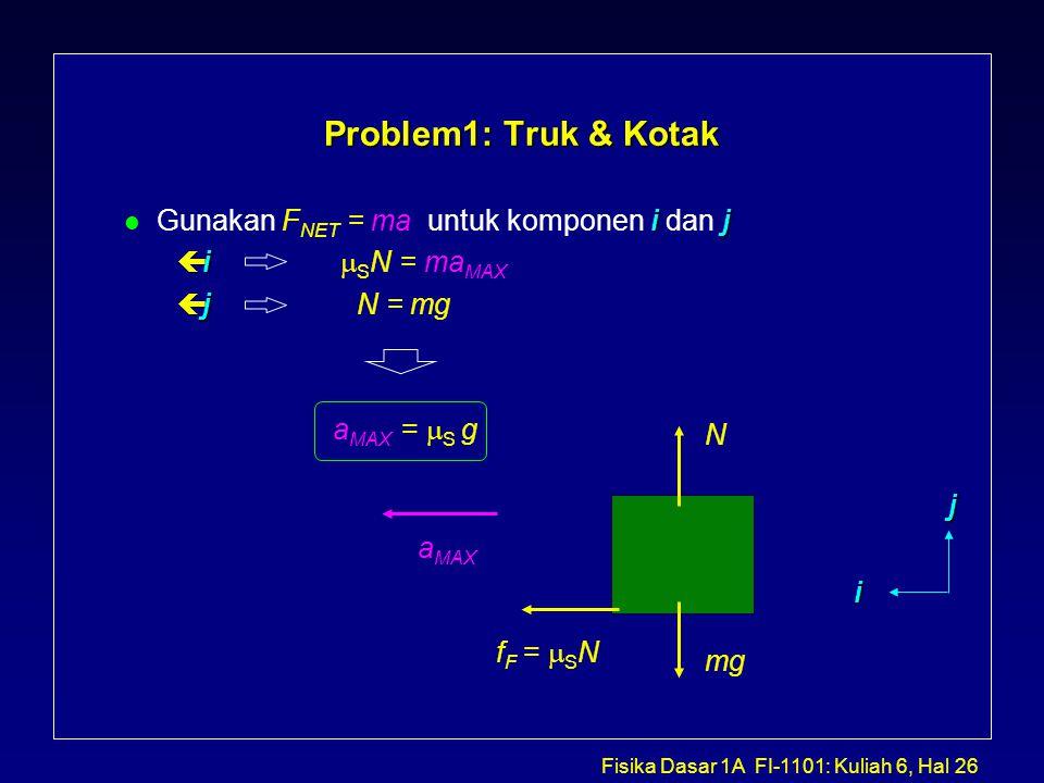 Problem1: Truk & Kotak Gunakan FNET = ma untuk komponen i dan j