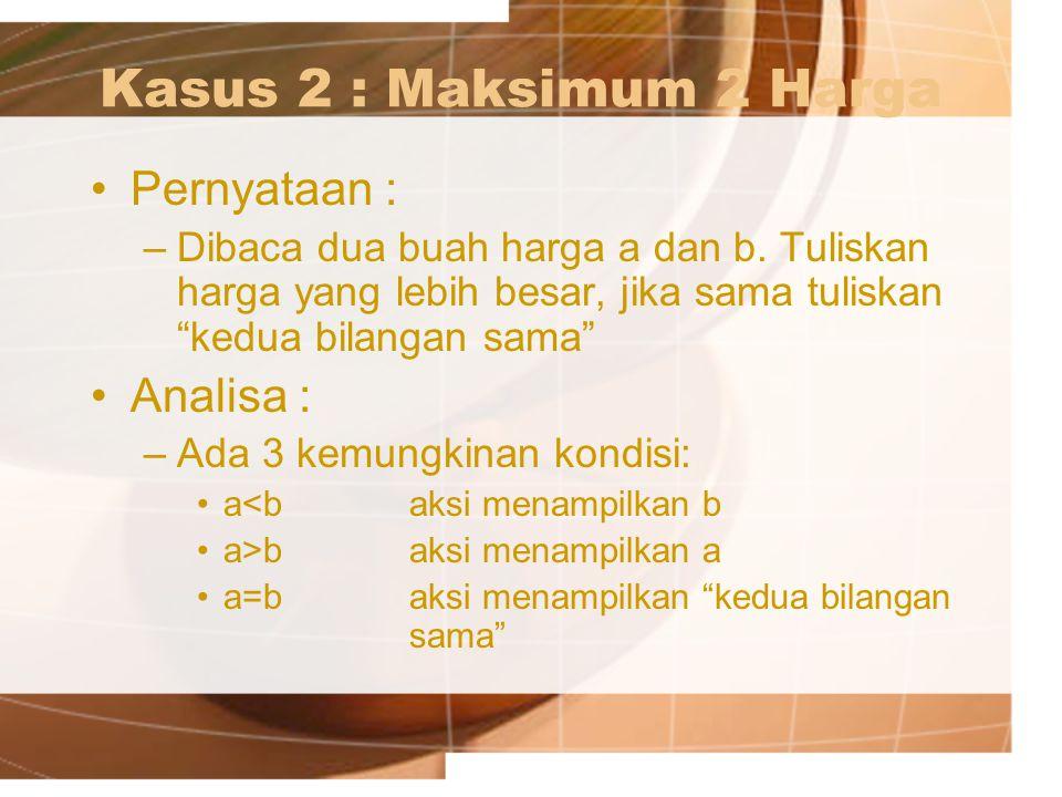 Kasus 2 : Maksimum 2 Harga Pernyataan : Analisa :