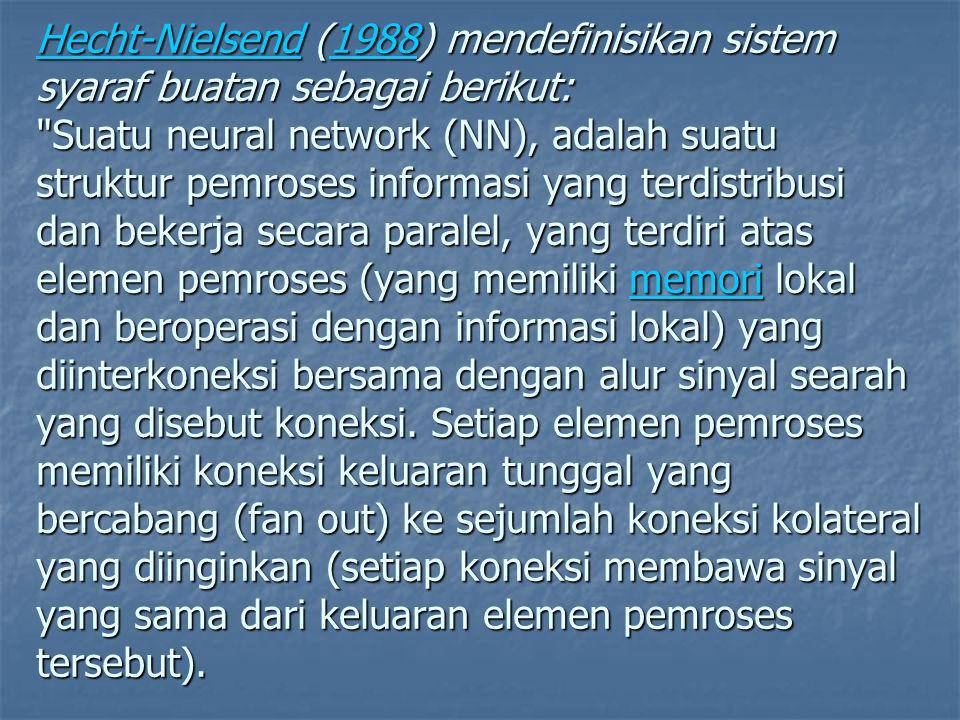 Hecht-Nielsend (1988) mendefinisikan sistem syaraf buatan sebagai berikut: Suatu neural network (NN), adalah suatu struktur pemroses informasi yang terdistribusi dan bekerja secara paralel, yang terdiri atas elemen pemroses (yang memiliki memori lokal dan beroperasi dengan informasi lokal) yang diinterkoneksi bersama dengan alur sinyal searah yang disebut koneksi.