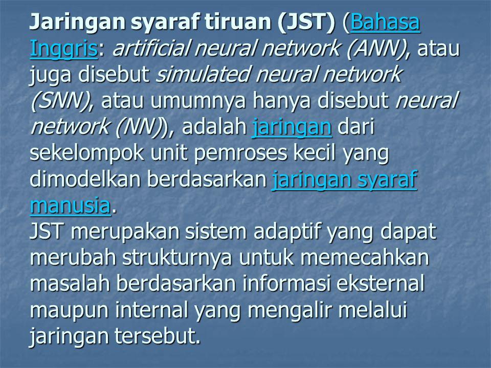 Jaringan syaraf tiruan (JST) (Bahasa Inggris: artificial neural network (ANN), atau juga disebut simulated neural network (SNN), atau umumnya hanya disebut neural network (NN)), adalah jaringan dari sekelompok unit pemroses kecil yang dimodelkan berdasarkan jaringan syaraf manusia.