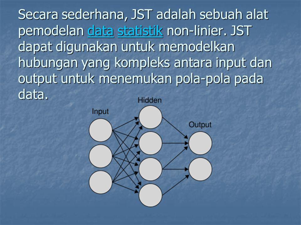 Secara sederhana, JST adalah sebuah alat pemodelan data statistik non-linier.
