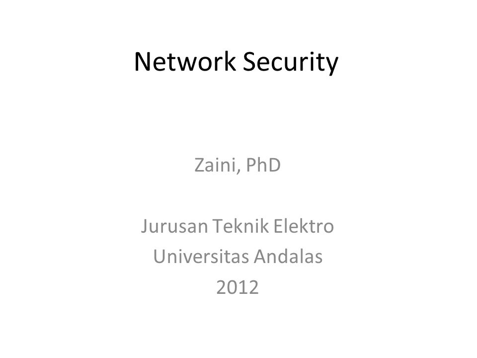 Zaini, PhD Jurusan Teknik Elektro Universitas Andalas 2012