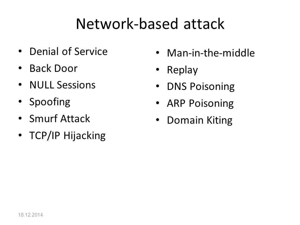 Network-based attack Denial of Service Man-in-the-middle Back Door
