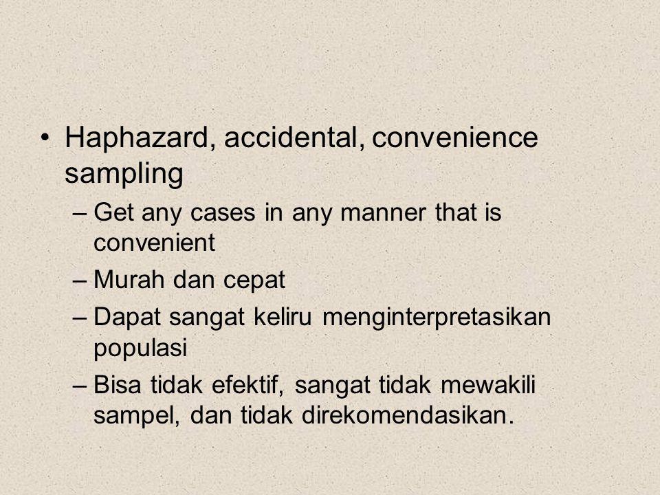 Haphazard, accidental, convenience sampling