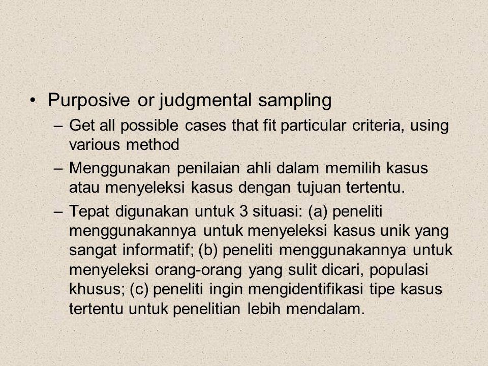 Purposive or judgmental sampling