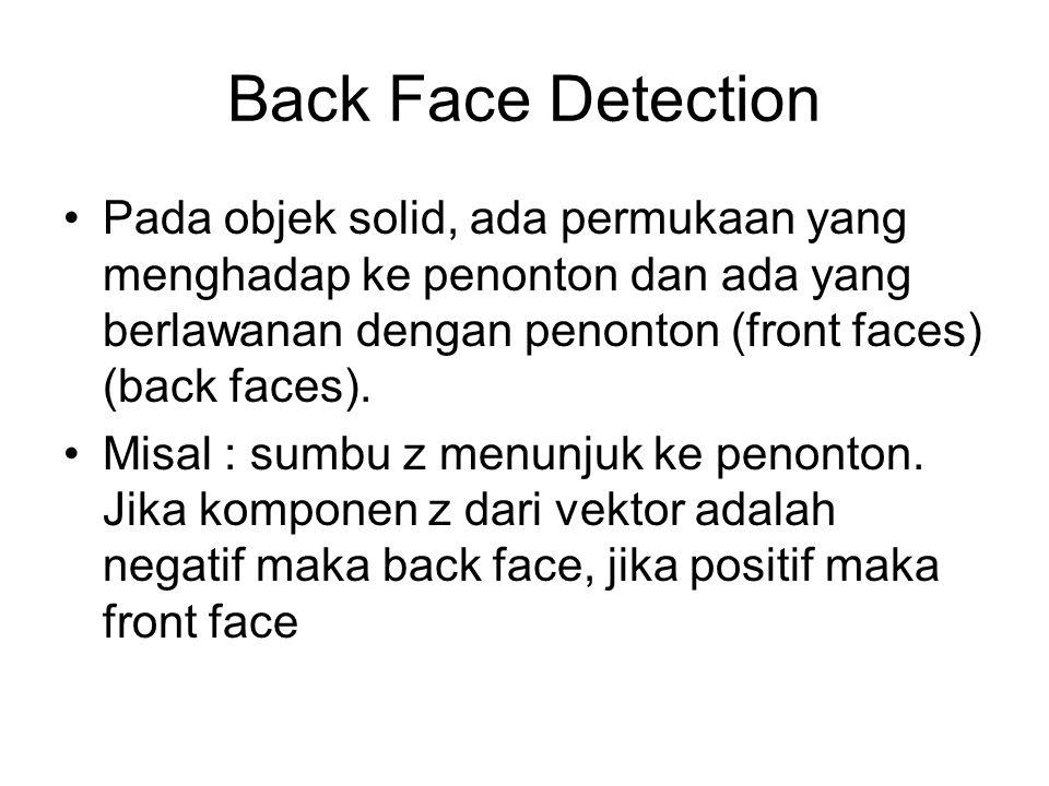 Back Face Detection Pada objek solid, ada permukaan yang menghadap ke penonton dan ada yang berlawanan dengan penonton (front faces) (back faces).