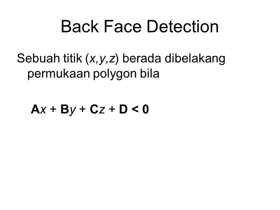 Back Face Detection Sebuah titik (x,y,z) berada dibelakang permukaan polygon bila Ax + By + Cz + D < 0