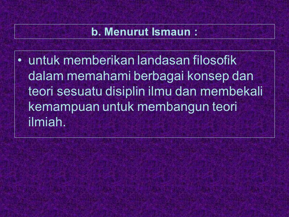 b. Menurut Ismaun :