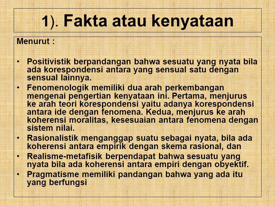 1). Fakta atau kenyataan Menurut :