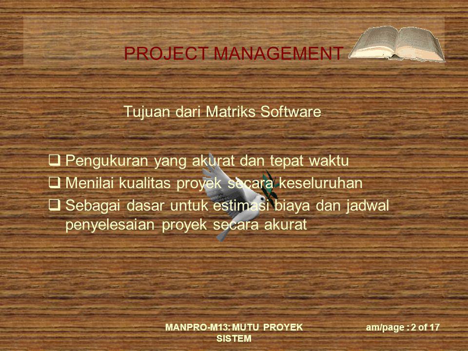 Tujuan dari Matriks Software