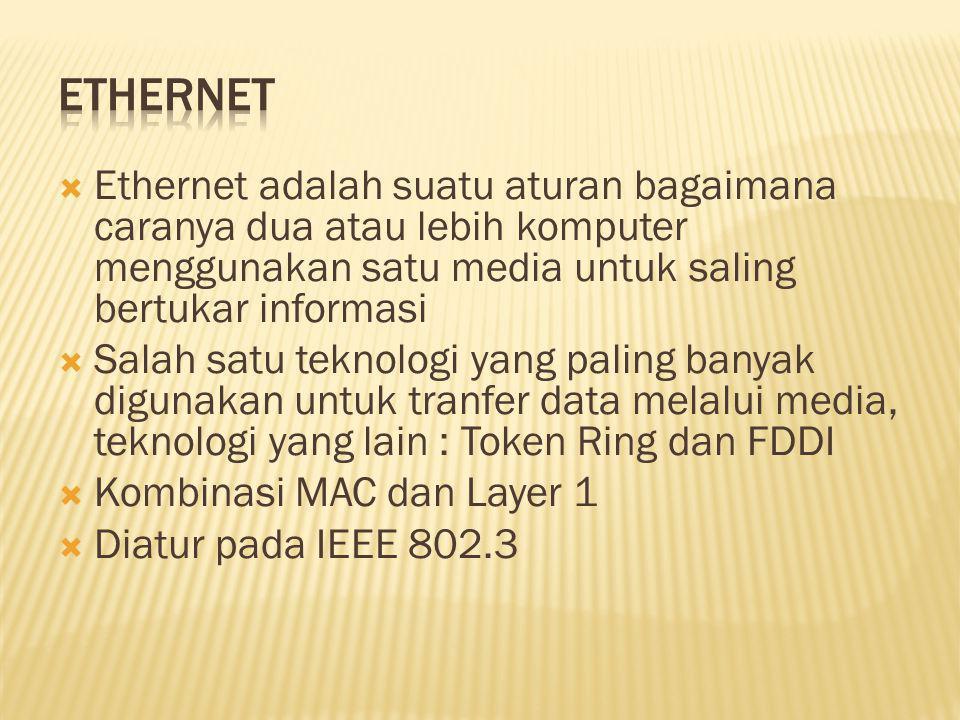 Ethernet Ethernet adalah suatu aturan bagaimana caranya dua atau lebih komputer menggunakan satu media untuk saling bertukar informasi.
