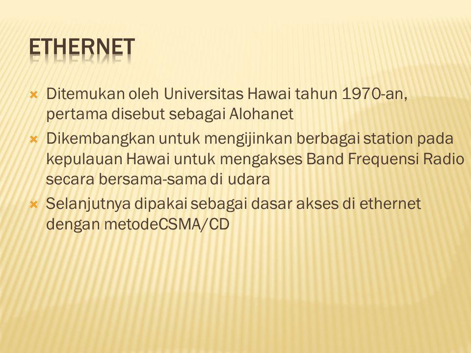 Ethernet Ditemukan oleh Universitas Hawai tahun 1970-an, pertama disebut sebagai Alohanet.