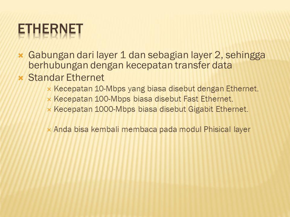 Ethernet Gabungan dari layer 1 dan sebagian layer 2, sehingga berhubungan dengan kecepatan transfer data.