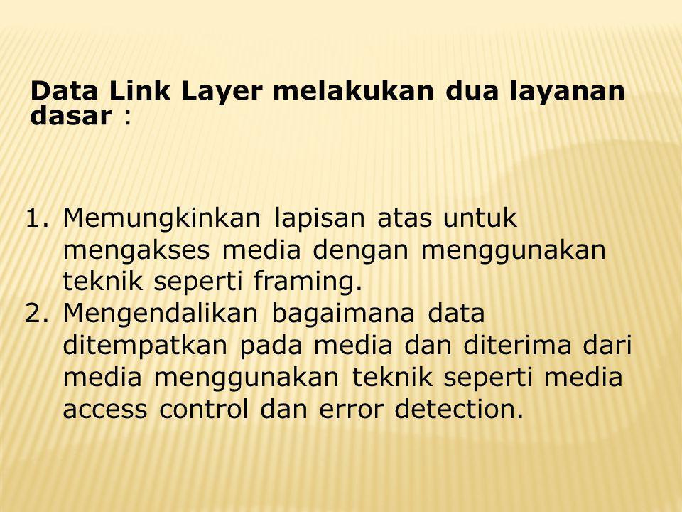 Data Link Layer melakukan dua layanan dasar :