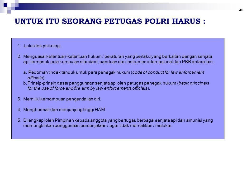 UNTUK ITU SEORANG PETUGAS POLRI HARUS :