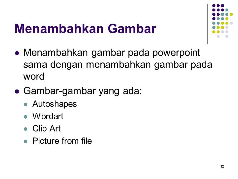 Menambahkan Gambar Menambahkan gambar pada powerpoint sama dengan menambahkan gambar pada word. Gambar-gambar yang ada:
