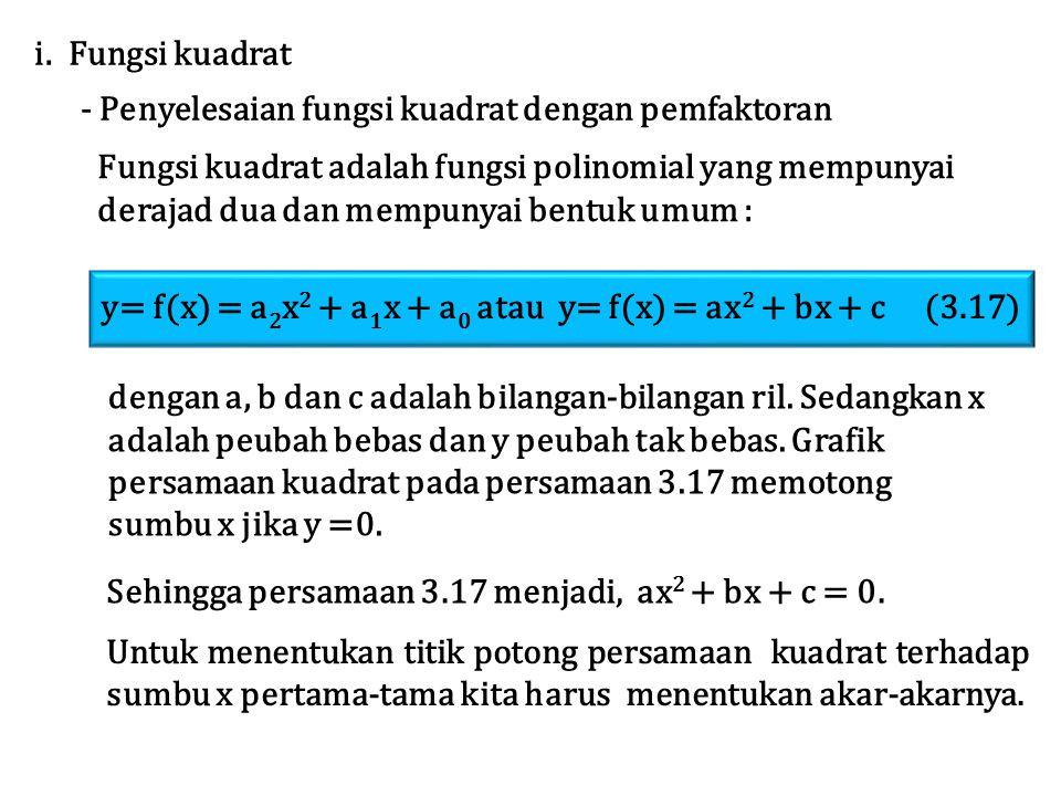 i. Fungsi kuadrat - Penyelesaian fungsi kuadrat dengan pemfaktoran. Fungsi kuadrat adalah fungsi polinomial yang mempunyai.