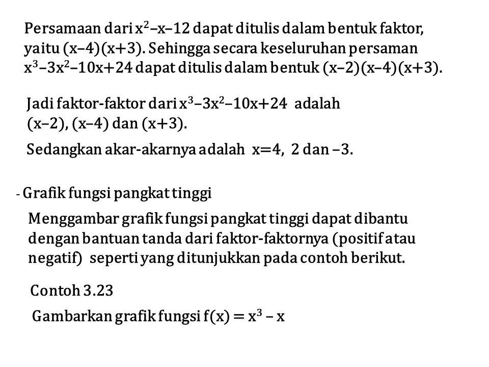 Persamaan dari x2–x–12 dapat ditulis dalam bentuk faktor,