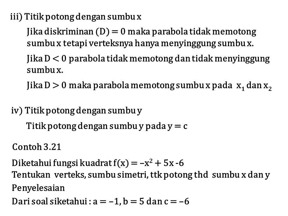 iii) Titik potong dengan sumbu x