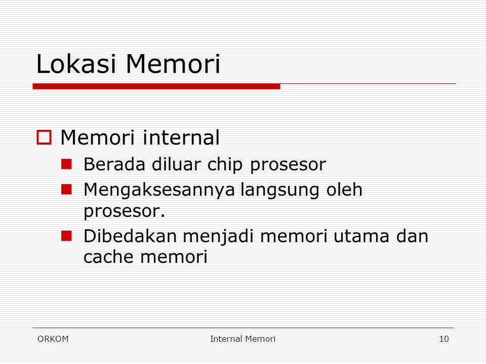 Lokasi Memori Memori internal Berada diluar chip prosesor